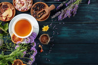 Herbal tea, top shot with copy space. Herbs, flowers and fruit