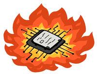 Computer Chip Fire Cartoon