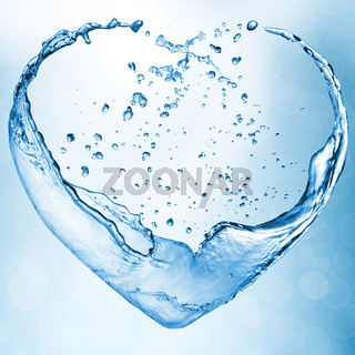 Valentine heart made of blue water splash