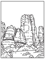The Needles in the Southeast Corner of Canyonlands National Park in Utah United States Mono Line or Monoline Black and White Line Art