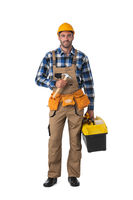 Construction worker with tool-belt