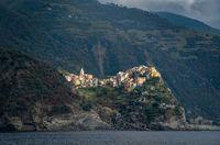 Casa Belsito italian village of at the edge of a rocky cliff, Cinque Terre Liguria, Italy