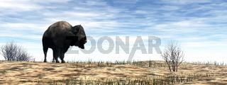 Bison standing in the desert - 3D render
