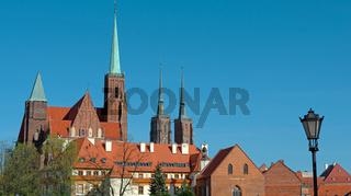 Panoramablick auf die Dominsel, Wroclaw (Breslau)