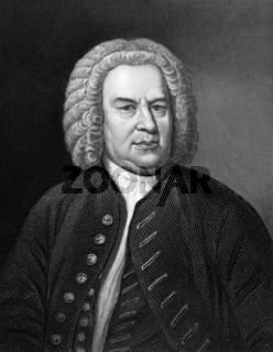 Johann Sebastian Bach (1685-1750) on engraving from 1857. German composer