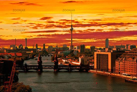 berlin aerial view skyline sunset