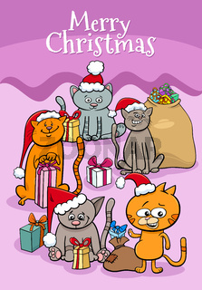 design or card with cartoon kittens on Christmas time