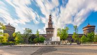 Milan Sforza castle and fountain long exposure photo