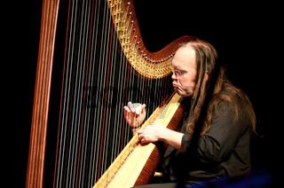 Musiker mit einer Jazzharfe