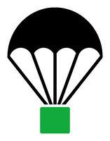 Flat Raster Cargo Parachute Icon