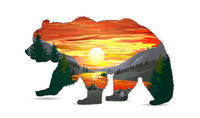Bear with mountain wildlife landscape