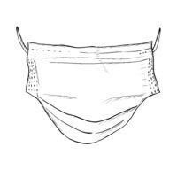 Medical mask hand drawn sketch. Vector illustration EPS8