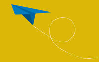 Blue paper plane on yellow background