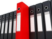 Red folder standing out from black folders. 3D illustration