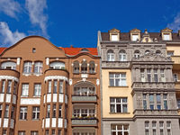 Street with historical buildings in Berlin, Germany