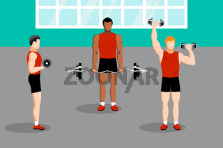 Workout with dumbbell in gym health training
