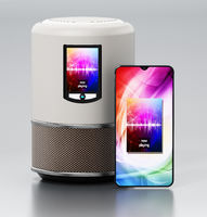 Smart speaker with LCD screen and smartphone playing music. 3D illustration