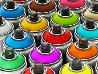 Colorful spray cans background. 3D illustration