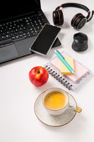 Working place and office desk with coffee