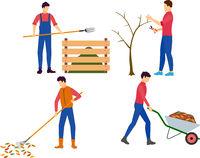People working in garden in autumn cartoon flat vector illustration