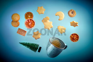 Danish butter cookies, a cup of tea and a Christmas tree, flying