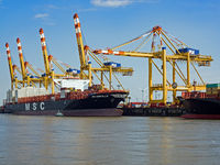 Bremerhaven, Bremen, Germany - 14 July 2017: Container ship MSC Domitille in the port of Bremerhaven