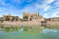 La Seu Cathedral of Palma de Mallorca and the Royal Palace La Almudaina with the Parc de la Mar