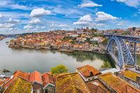 Porto Portugal city skyline at Porto Ribeira and Douro River and Dom Luis I Bridge