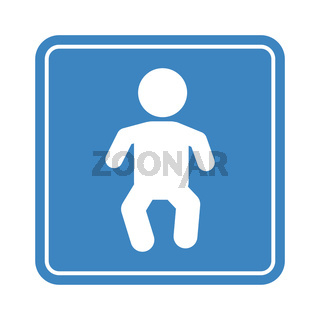Little baby simple sign, detailed blue child icon for public place on the white background
