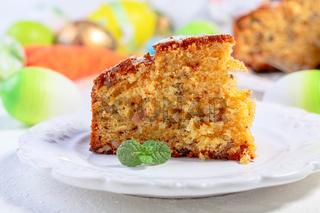 Piece of homemade carrot cake.