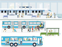 Bus stop with express train and passengers