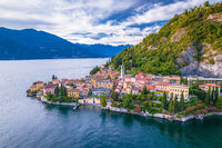 Como Lake and town of Varenna aerial view