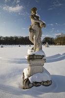 Figure in the castle park in winter, Nordkirchen Castle, Nordkirchen, Germany, Europe