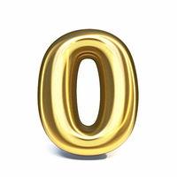 Golden font Number 0 ZERO 3D