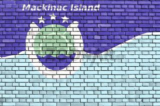 flag of Mackinac Island, Michigan painted on brick wall