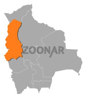 Map of Bolivia, La Paz highlighted