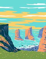 Elegug Stack Rocks Located in Pembrokeshire Coast National Park in West Wales Uk Art Deco WPA Poster Art