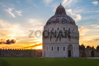 Baptistry of Pisa at sunset, Tuscany, Italy
