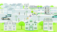 Families and people on the sidewalk with road traffic illustration