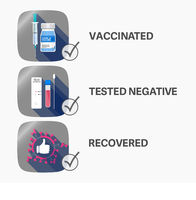 admittance for vaccinated, recovered and people tested negative for covid-19