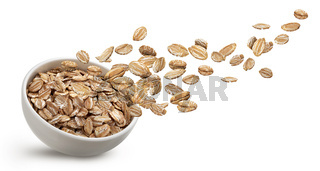 Rye flakes isolated on white background with clipping path