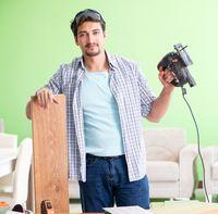 Woodworker working in his workshop