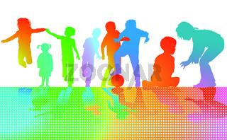 Spielende Kinder Farben.eps