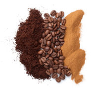 Three Different Types Of Coffee Isolated