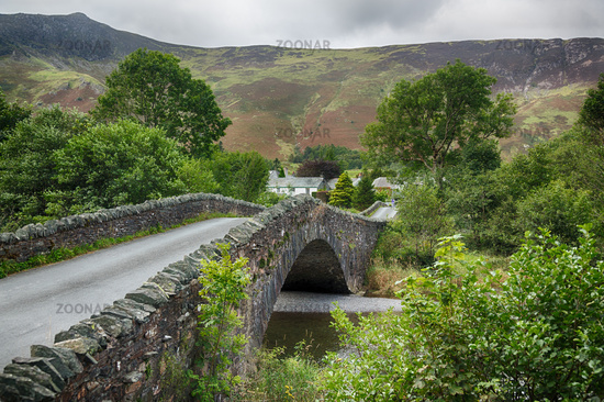 Bridge over small river at Grange in Lake District