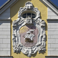 Facade detail with a ship, Husum, North Sea, North Frisia, Schleswig-Holstein, Germany, Europe