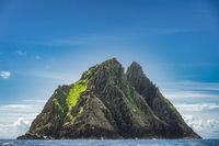 Twin peaks of Skellig Michael island with St. Fionans Monastery on top