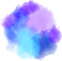 round blue and purple watercolor or ink splash