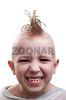 Punk hair child grin