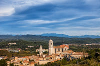 Catalonia Landscape With Old Town In Girona City